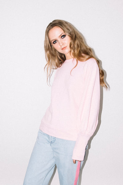 See You Never Clothing Edie pink mutton sleeve sweatshirt
