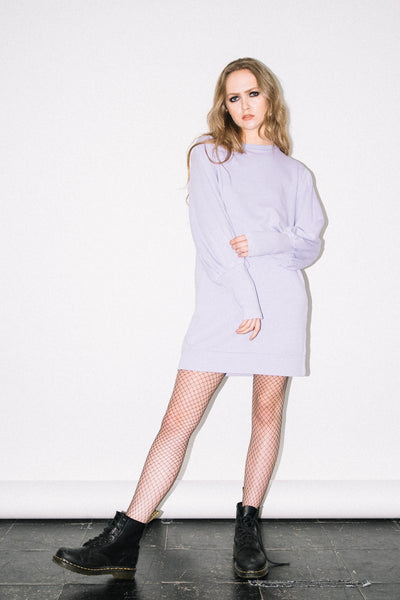 See You Never Clothing Edie lilac mutton sleeve sweatshirt dress