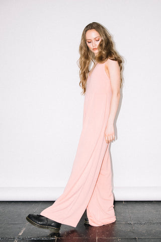 See You Never Clothing pink wide leg jumpsuit