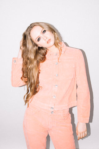 See You Never Clothing peach pink corduroy jacket