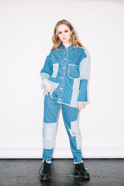 See You Never Clothing patchwork oversized distressed denim jacket