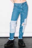 See You Never Clothing patchwork distressed denim mom jeans