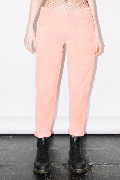 See You Never Clothing peach pink cord boyfriend jeans