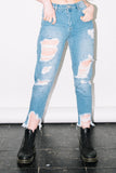 See You Never Clothing stud distressed denim mom jeans