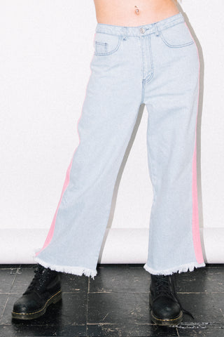 See You Never Clothing pink side stripe wide leg skater jeans