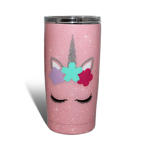 BEACH PLEASE GLITTER TUMBLER