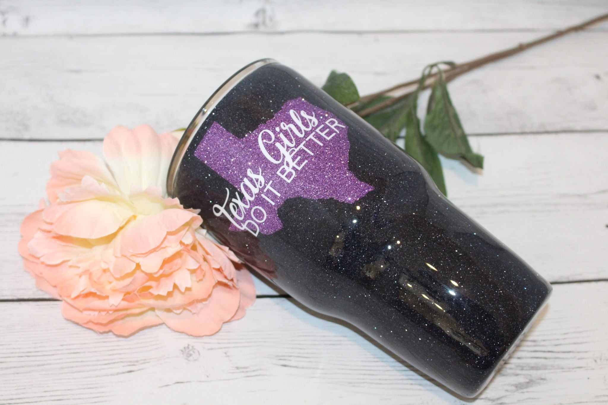 TEXAS GIRLS GLITTER TUMBLER
