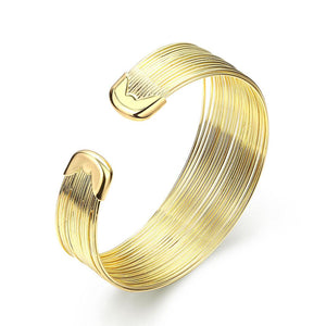 Roman Design Wired Cuff Bangle in 14K Gold