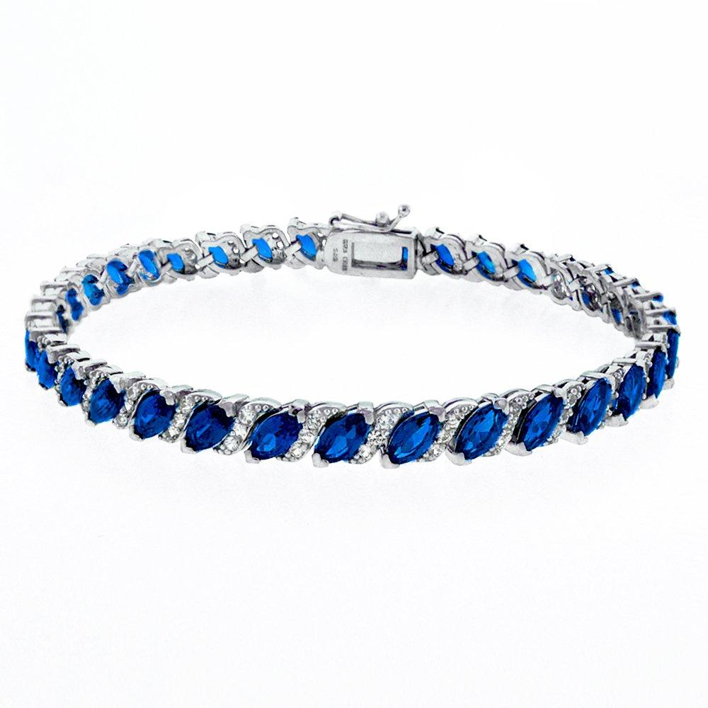 Genuine Sapphire Vine Bracelet Embellished with Swarovski Crystals in 18K White Gold Plated 20.00 CT