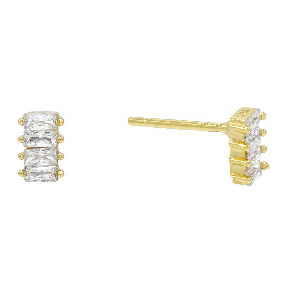 4 Stone White Topaz Baugette Stud Earring Embellished with Swarovski Crystals in 18K Gold Plated