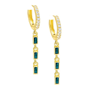 Dainty Dangle Sapphire Baugette Drop Earring Embellished with Swarovski Crystals in 18K Gold Plated