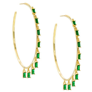 "Pave Mini Baugette Dainty Emerald 1.4"" Hoop Earring Embellished with Swarovski Crystals in 18K Gold Plated"