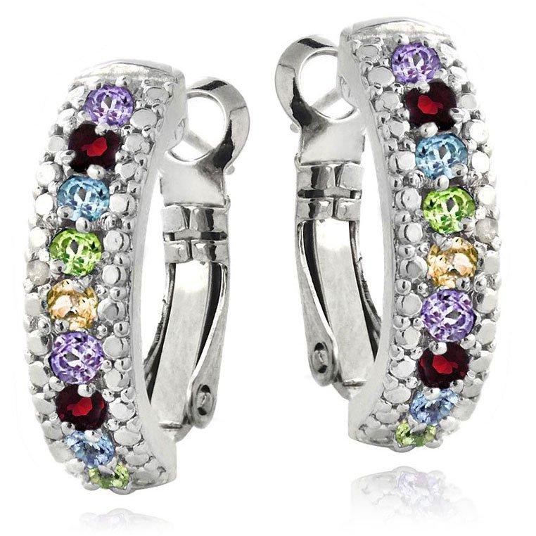 3.00 Ct Genuine Multi Gemstone Leverback Earring Embellished with Swarovski Crystals in 18K White Gold Plated