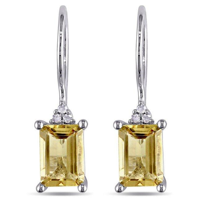 2.50 CT Genuine Citrine Baugette Gemstone Drop Earringin 18K White Gold Plated