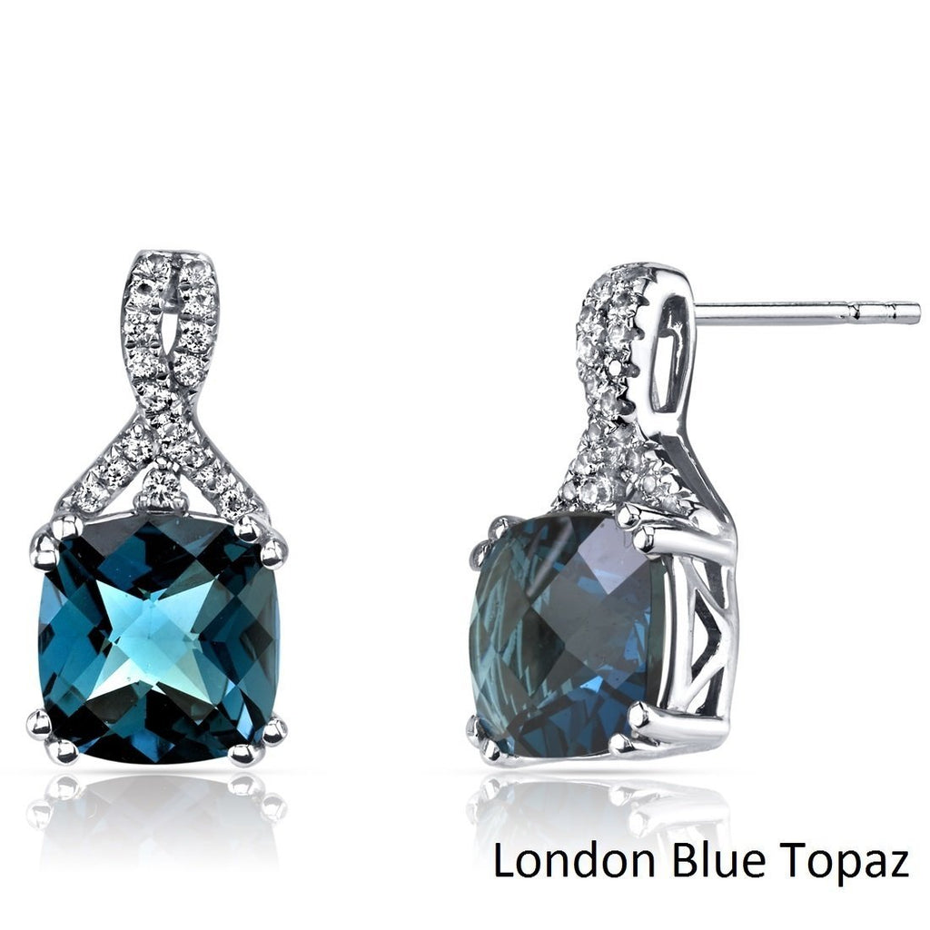 2.00 CT Cushion Cut London Blue Topaz Stud Earring in 18K White Gold Plated