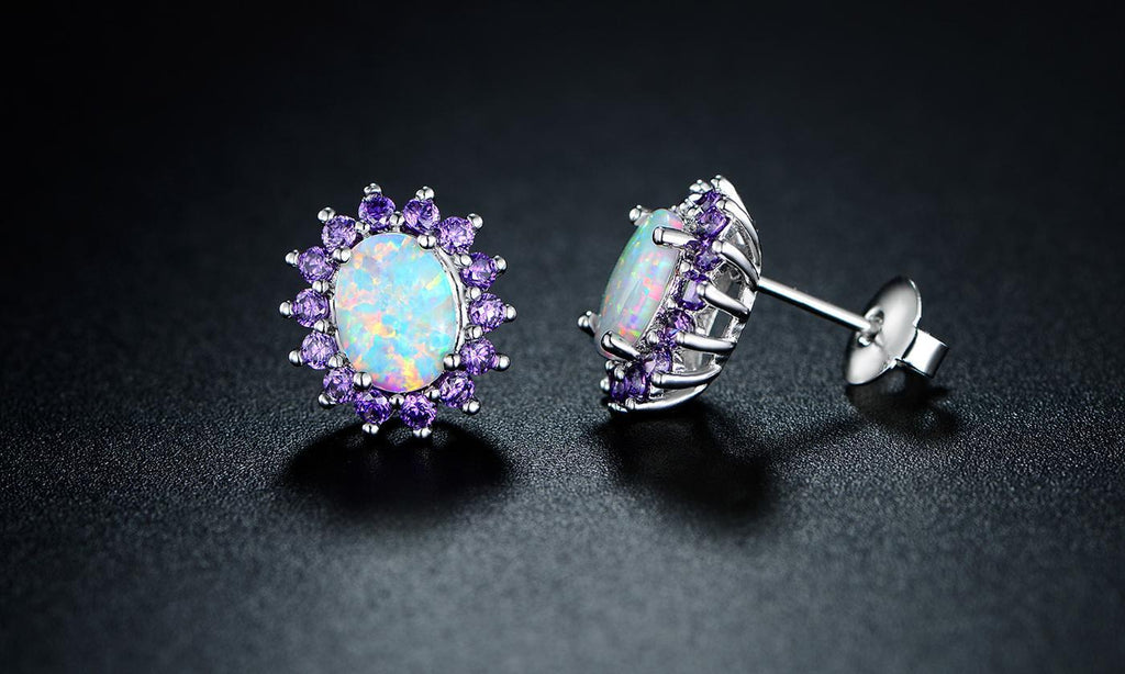 White Fire Opal and Amethyst Stud Earrings in 18K White Gold 0.25 CTTW