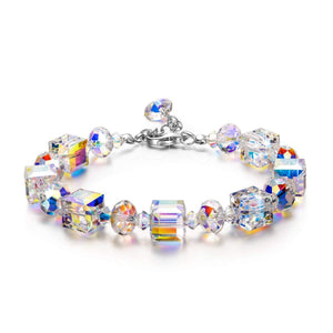 Aurora Borealis Cube and Sphere Adjustable Bracelet in 18K White Gold Plated