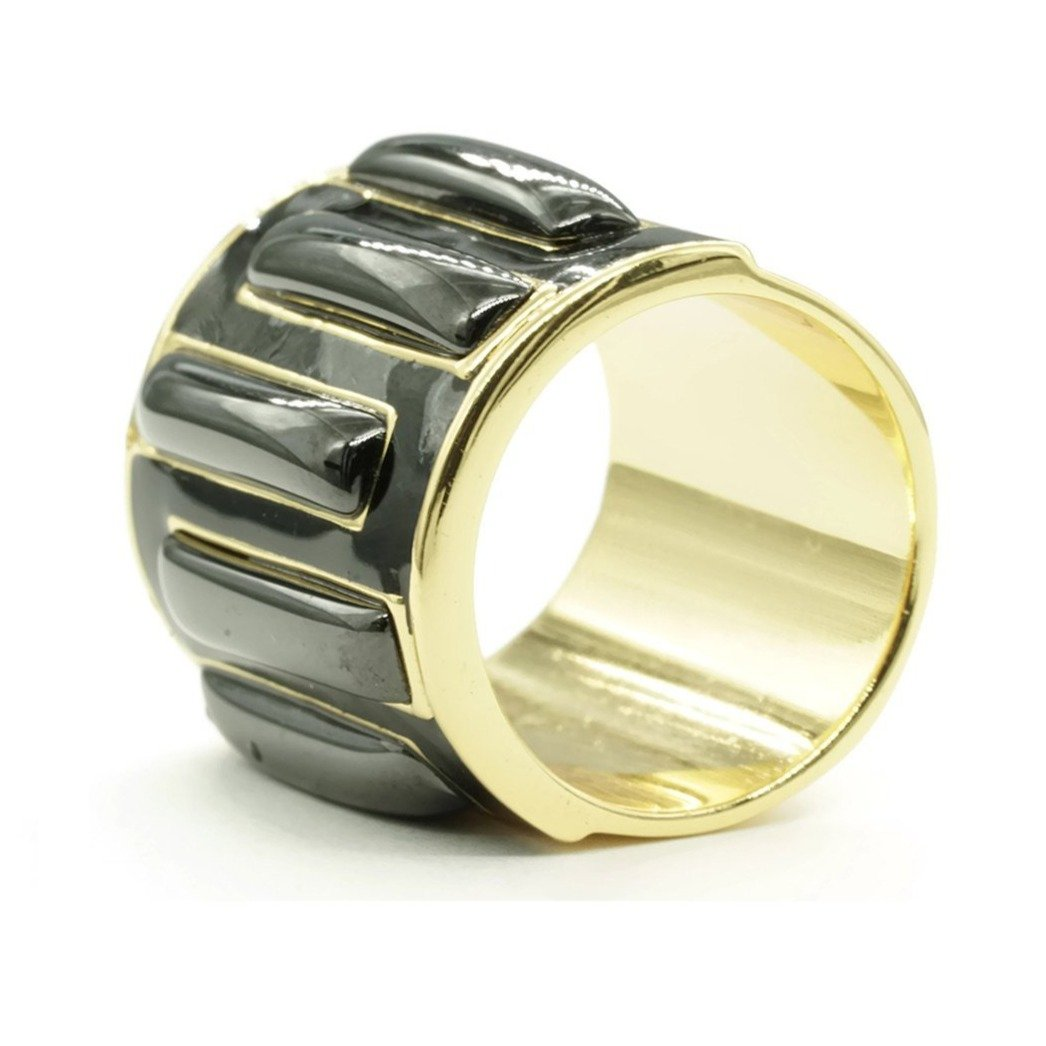 Black and Gold Wide Geometric Cigar Band Statement Ring