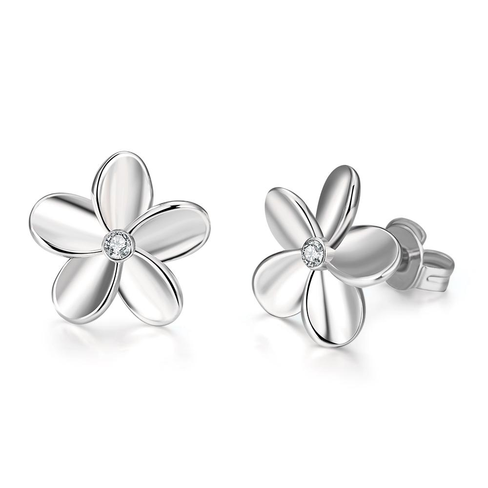 Swarovski Crystal Flower Stud Earring - 14K White Gold Plated