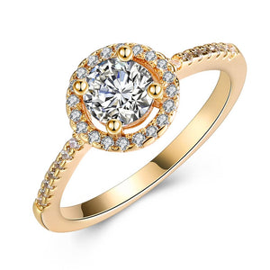 Circular Pav'e Swarovski Elements Halo 18K Gold Ring