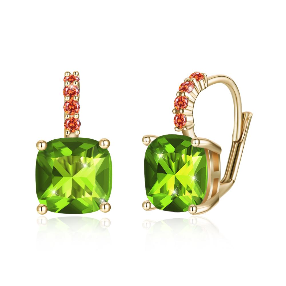 Asscher Cut - Green Swarovski Pav'e Leverback in 14K Gold