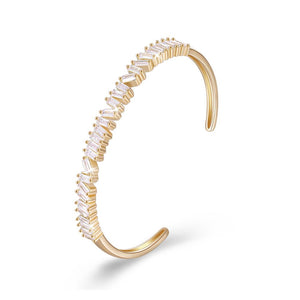 Asymmetrical Emerald Cut Swarovski Bangle in 14K Gold - White