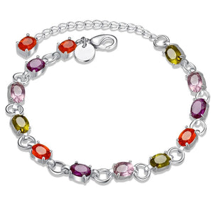 Rainbow Swarovski Princess Cut Bracelet in 18K White gold