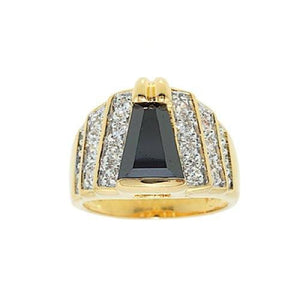 Fancy Cut Black Stone Angled Rows Ring