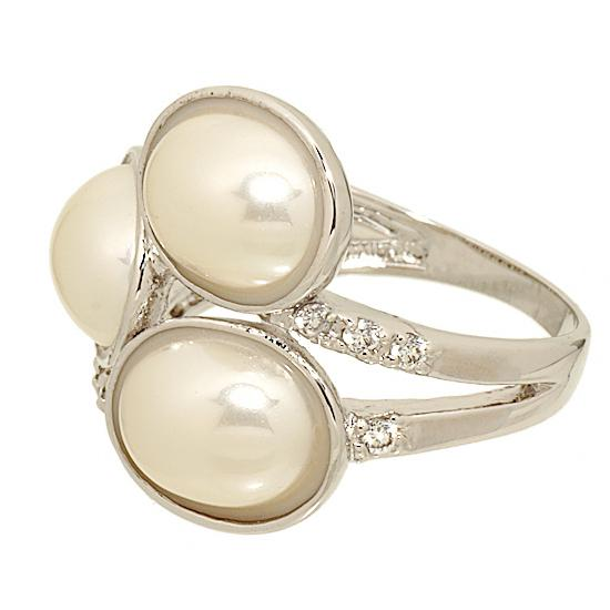 Cabochon Faux Pearl and Cubic Zirconia Wrap Silvertone Ring