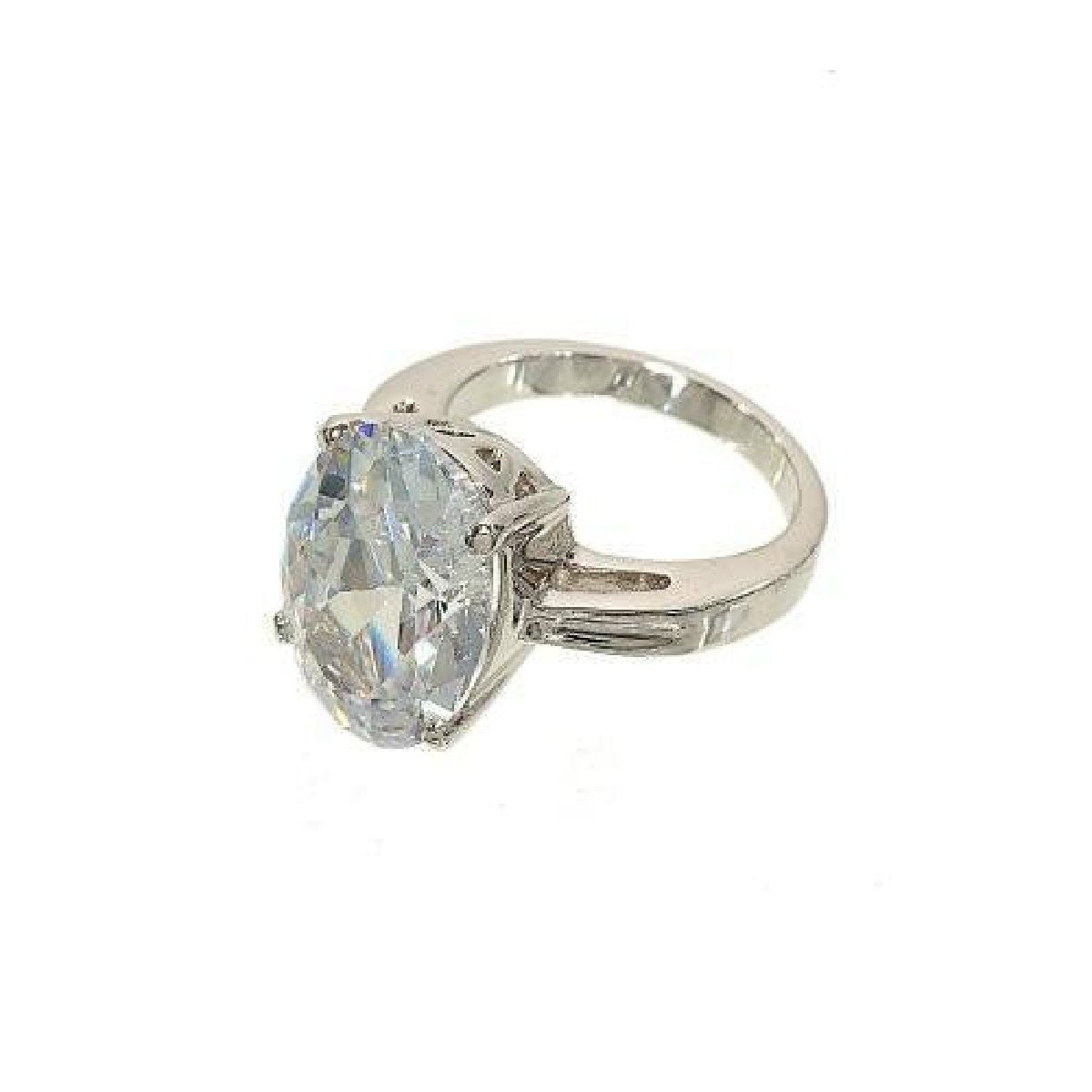 Big Oval Single Clear Stone Four Prong Setting Ring