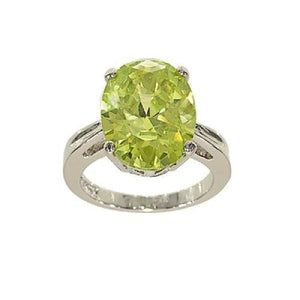 Big Oval Single Stone Cocktail Bright Lemon Green Ring