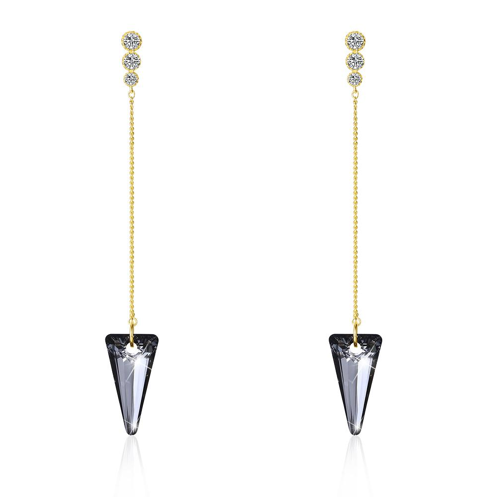 Sterling Silver Triangular Cut Swarovski Elements Earrings - Blue