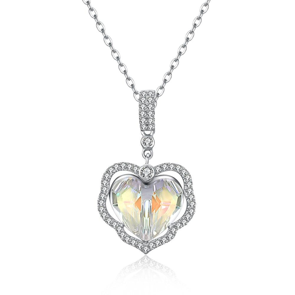 5.00 CT Aurora Borealis Stone Sterling Silver Swarovski Crystal Enchanting Heart Necklace