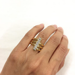 Asymmetrical Three Row Shank Vertical Bar Clear Stone Ring