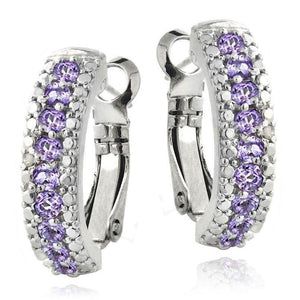 3.00 Ct Genuine Amethyst Leverback Earring Embellished with Swarovski Crystals in 18K White Gold Plated
