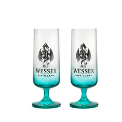 New Wessex Glasses, logo branded design, goblet shaped glass with teal blue glass effect