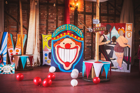Props hire for corporate events by Rock the Day Essex | Vintage circus themed team building day