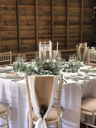 Hessian Sash /Rock The Day event, wedding hire/Essex