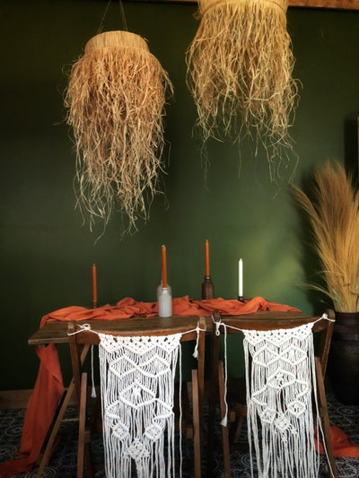 Natural raffia handmade lampshades for hire