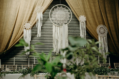 Dreamcatchers for hire | wedding backdrop hire | prop hire | bohemian decor for hire by Rock the Day Essex