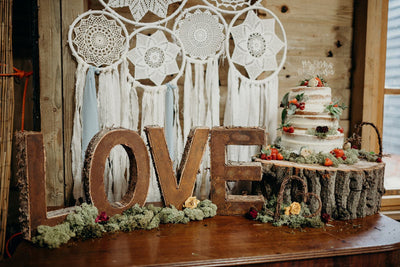 Handmade wedding cake backdrop-bohemian style party decor. Also perfect for photoshoot, branding shoots or retail display. For hire in Essex, Hertfordshire, London