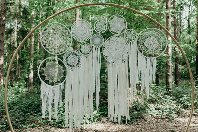 Photo backdrop/wedding backdrop. Giant hoop with dreamcatchers available for hire in Essex, London, Hertfordshire
