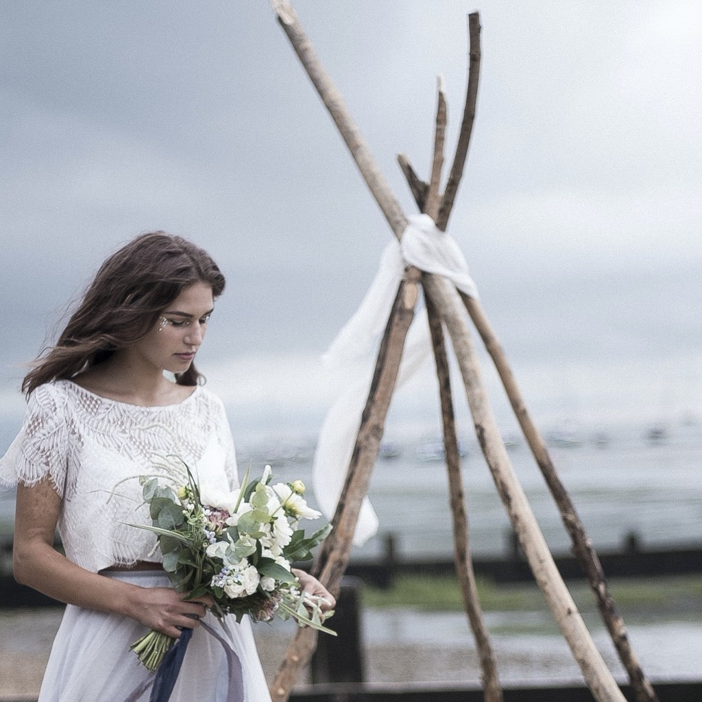 Ceremony Area Set up with Small Naked Tepee | Rock the Day Wedding Styling