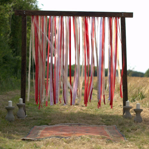 Wooden Arch with Ribbons Backdrop | Rock the Day Styling