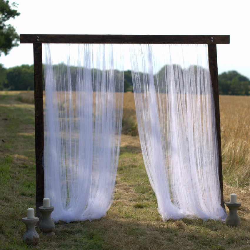 Wooden Arch with Voile Backdrop | Rock the Day Styling