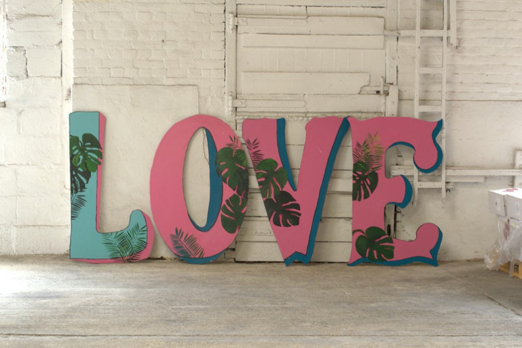 Tropical Wooden Letters | Essex prop hire | Rock the Day Styling