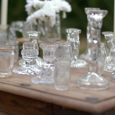 Glass Candlesticks | Rock the Day Wedding Styling/ prop hire | event hire |Essex