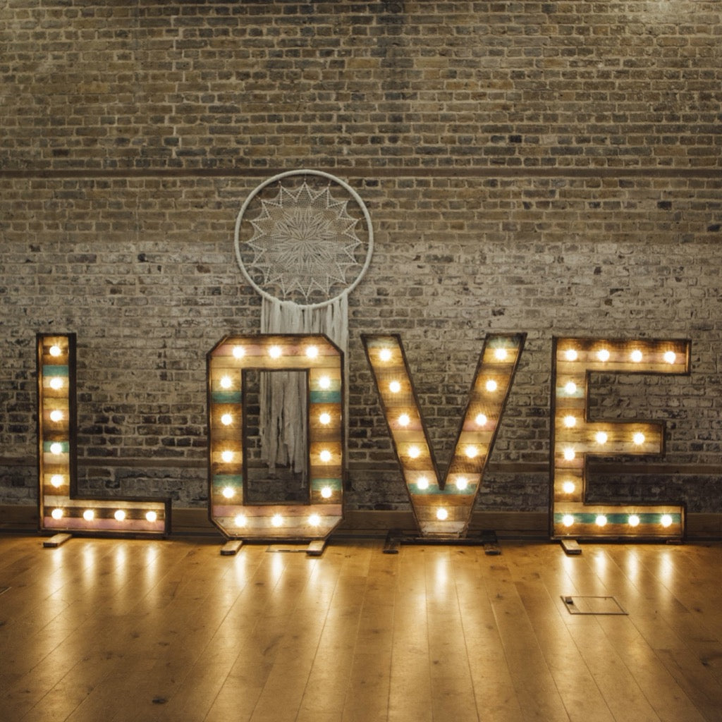 Boho Rustic LED Letters | Essex prop hire | Rock the Day Styling