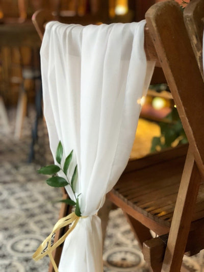 Ivory chiffon sash - style your venue for any occasion - Rock the Day, prop hire | party styling Essex