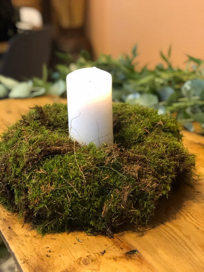 Moss table decoration. Event/wedding hire Essex